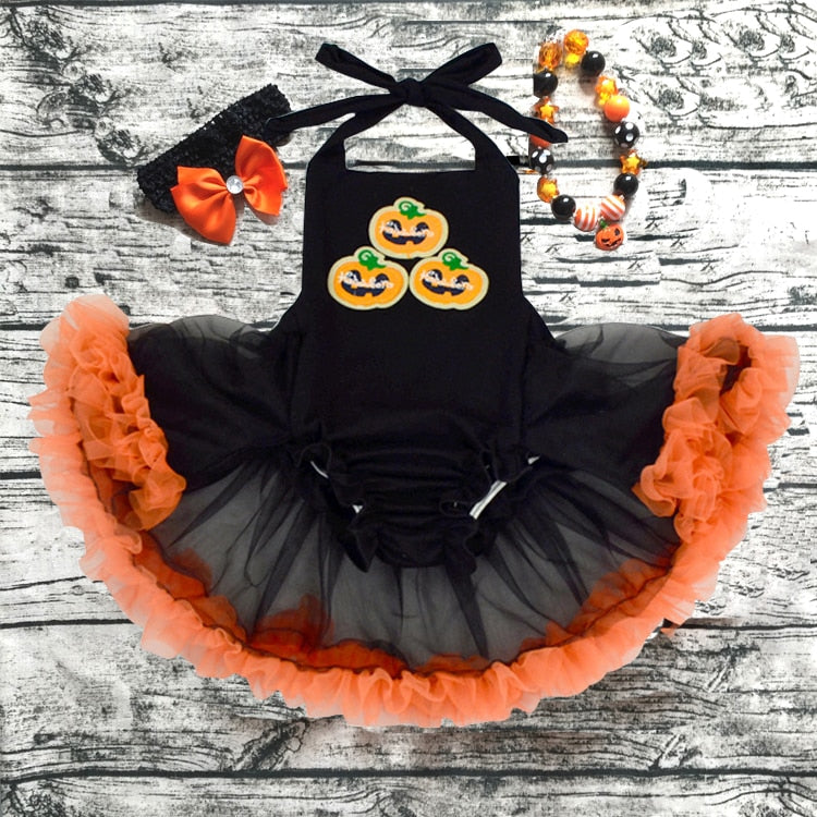 Baby Girl Halloween Romper Pretty Ruffled Romper dress with headband and necklace set newborn girl rompers