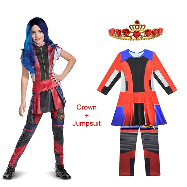 Halloween Descendants 3 Costume For Teen Girl Jumpsuit Cloth Evie Child Cosplay Wig
