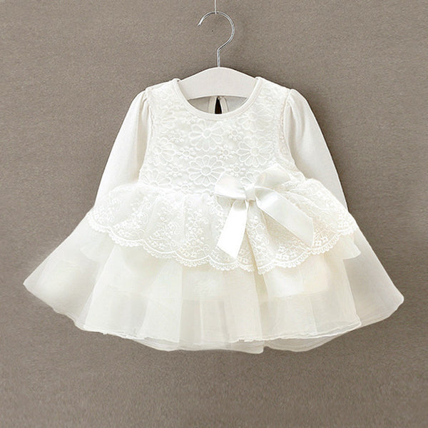 Newborn Baby Girl Long Sleeve Lace Balll Gown Tutu White Dress