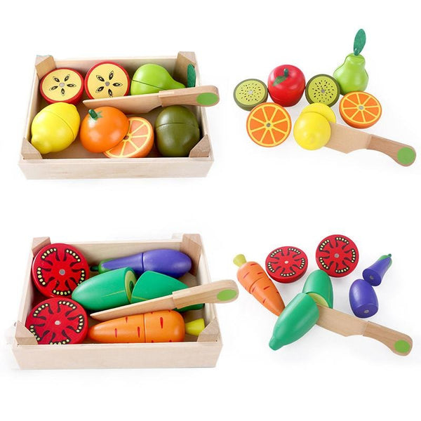 Baby Early Education Cutting  Wooden Miniature Fruit/Vegetable - Cute Baby