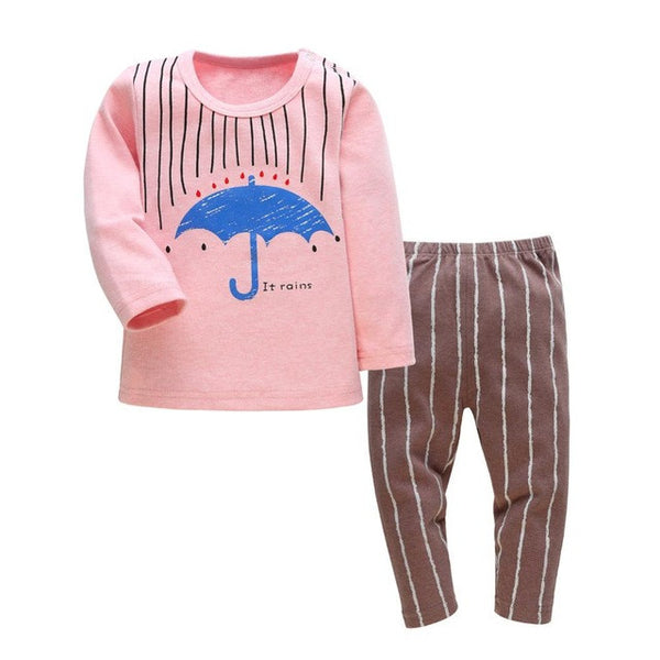 Baby Toddler Girls Boys Cartoon Long Sleeve Pajama Set
