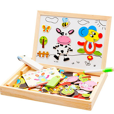 Multifunctional Educational Wooden Magnetic Puzzle and Drawing Board Toy - Cute Baby