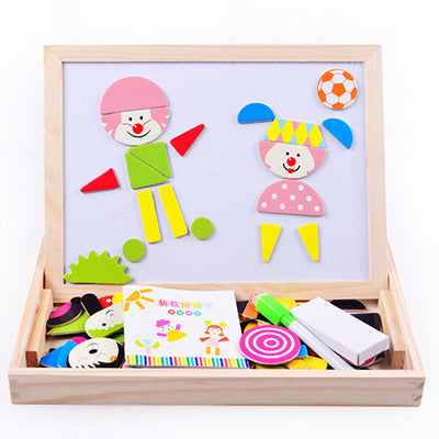 Multifunctional Educational Wooden Magnetic Puzzle and Drawing Board Toy