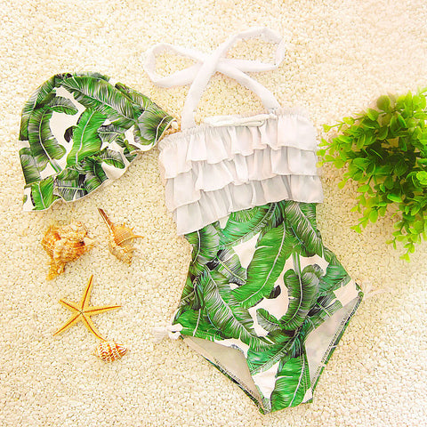 Girls Tropic Ruffled Swimsuit with Cap