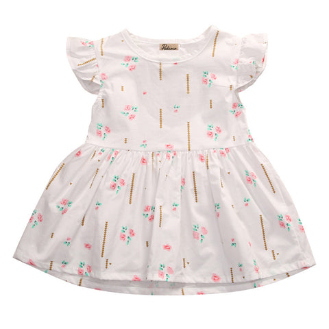 Newborn Baby Girl Little Flowers Ruffled Sleeve Cute Dress