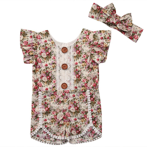 Baby Toddler Girl Ruffled Sleeve Floral Romper