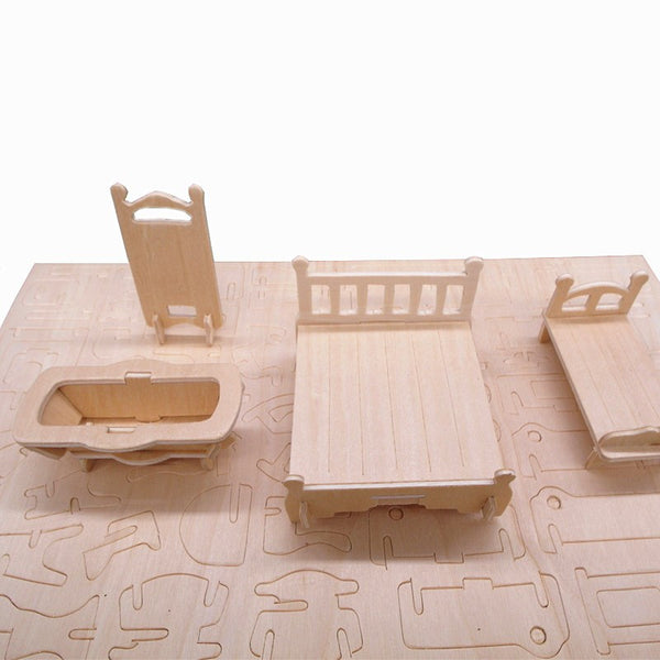 Children's Educational 34pcs/set 1:12 Dollhouse Mini Furnitures Kit Set