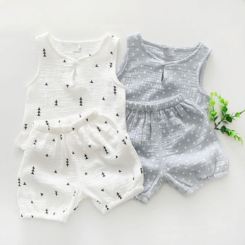 Boys Baby/Toddler Star/Tree Printed Tank Top and Shorts Set