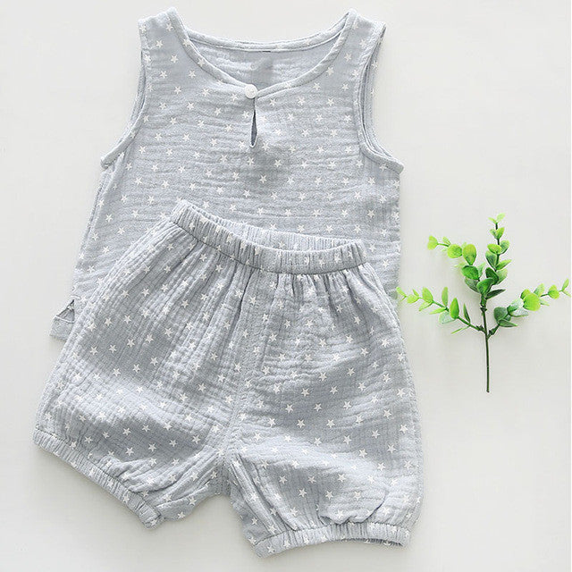 Baby Toddler Boys Star Tree Printed Tank Top and Shorts Set