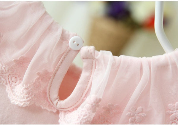 Newborn Baby Girl Lapel Collar Ball Gown Cute Dress