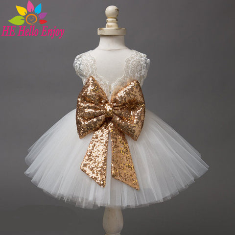 Newborn Baby Girl Cute Big Bow Lace Princess Party Tutu Dress