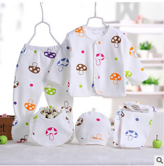 Newborn Baby Girl Boy 5 Pieces Colorful Mushrooms Cute