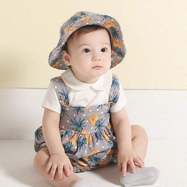 Newborn Baby Girl Boy 2 Pieces Cute Pineapple Suspender Romper Bucket Hat Outfit Set