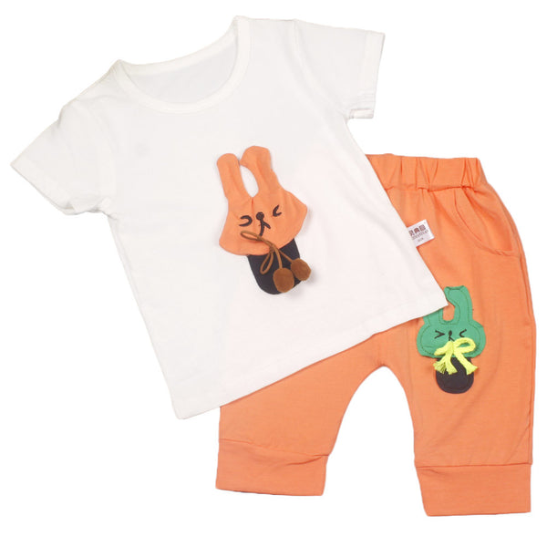 Newborn Baby Girl Boy Rabbit Appliqued T-shirt Pants Set