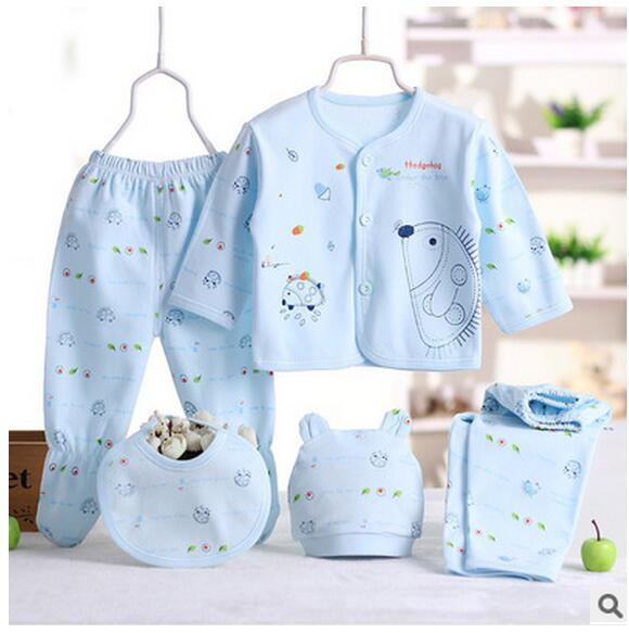 Newborn Baby Girl Boy 5 Pieces Hedgehog Infant Clothing Set