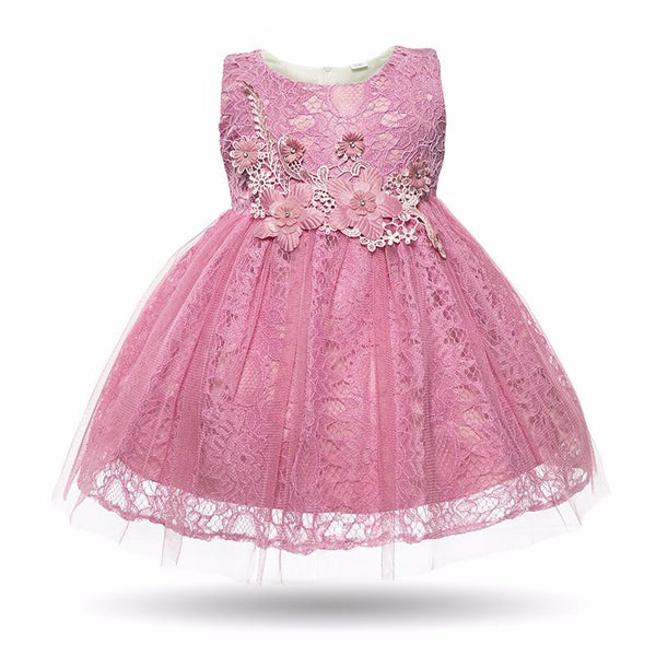 Newborn Baby Girl Pink White Floral Lace Cute Birthday Party Wedding Christening Dress