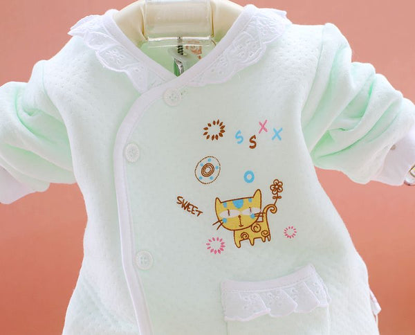 Newborn Baby Girl Lace Collar Funny Cat Tracksuit Clothing Set