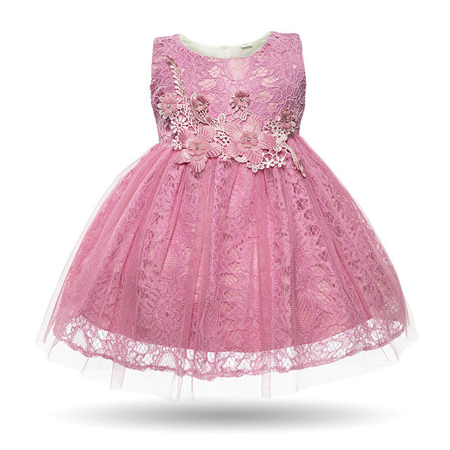 5576309711ae1 Newborn Baby Girl Pink White Floral Lace Cute Birthday Party Wedding  Christening Dress