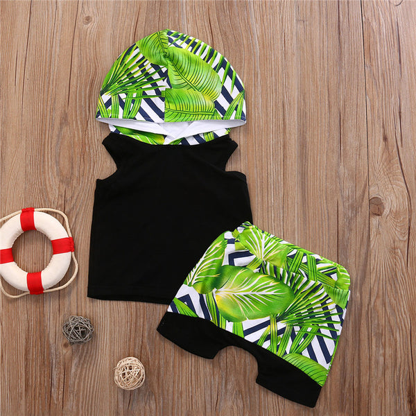 Baby Toddler Boys Tropical Forests Hooded Top Harem Shorts Outfit Set