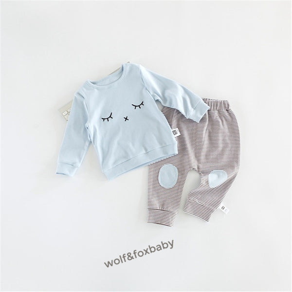 Newborn Baby  Long Sleeve Sleeping Face Top Striped Pants Outfit Set