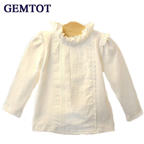 Newborn baby girl long sleeve collar lace T shirt -  0-3 yrs