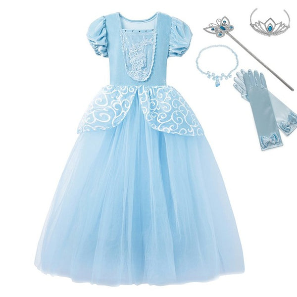 Girls Cinderella Dress up Cosplay Costumes Kids Puff Sleeve Embroidery Blue Clothes Child Christmas Birthday Princess Dresses