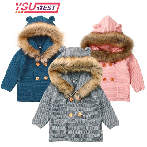 Knitted Newborn Hooded Coat