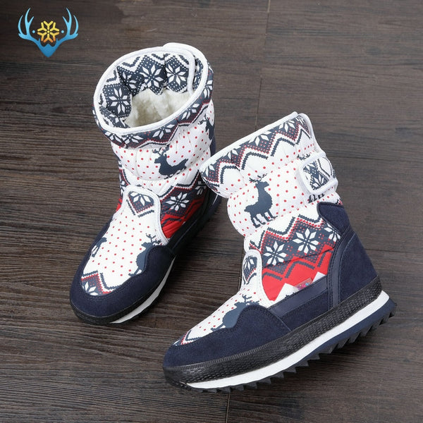 Girls Winter Boots Children snow boot kids new design Christmas shoes warm natural wool fur inside Non-slip sole  free shipping