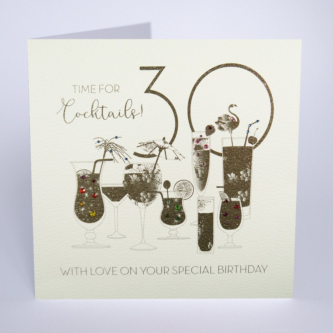 Five Dollar Shake LARGE Time for Cocktails 30th Birthday Card