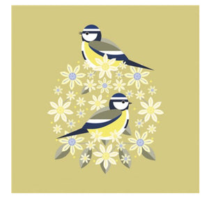 The Art File -Blue Tit & Blooms Bird Blank Card