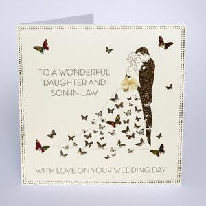 Five Dollar Shake LARGE Daughter & Son-in-Law Butterfly Wedding Day Card