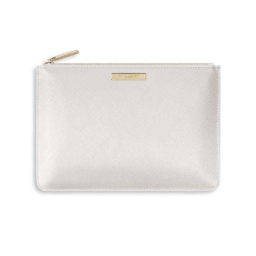 Katie Loxton Secret Message Pouch - Bride - Metallic White