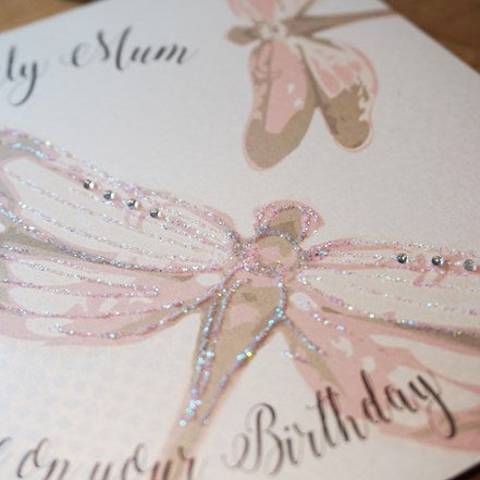 White Cotton Cards Lovely Mum Dragonflies Card