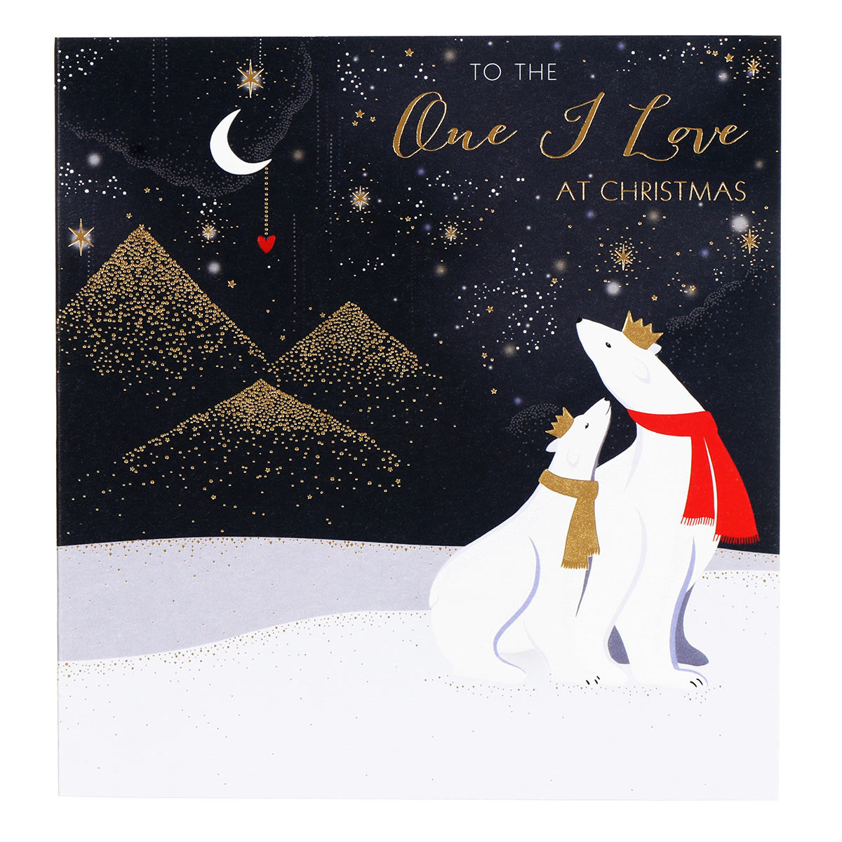 Sara Miller by The Art File - One I Love Polar Bears Large Christmas Card