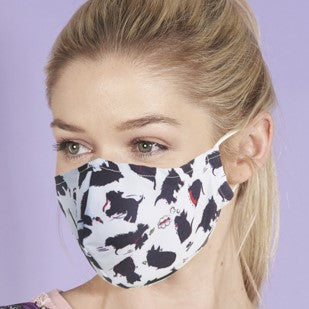 Eco Chic Reusable Face Covering -White Scotty Dog