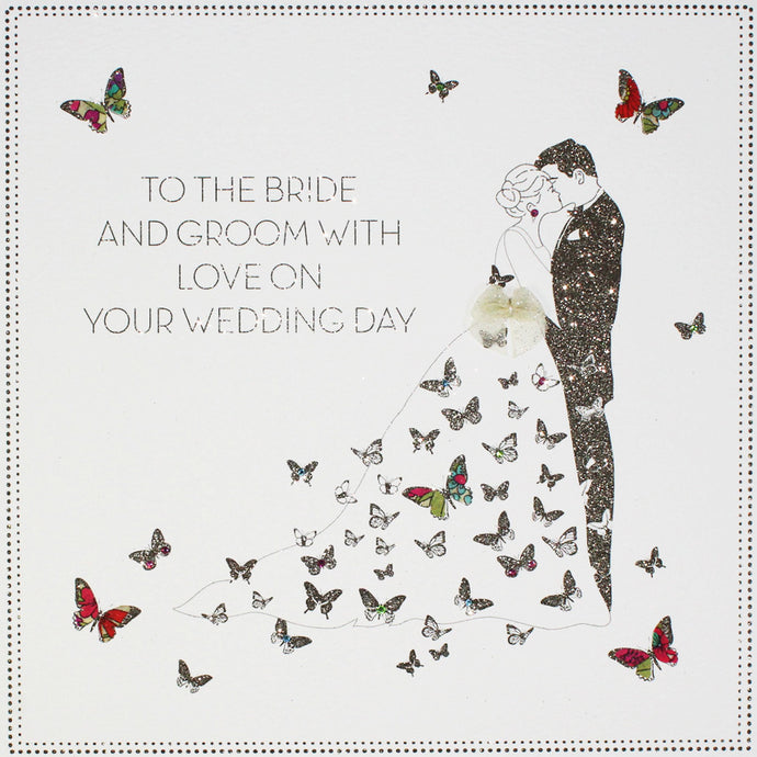 Five Dollar Shake LARGE Bride & Groom Butterfly Wedding Day Card