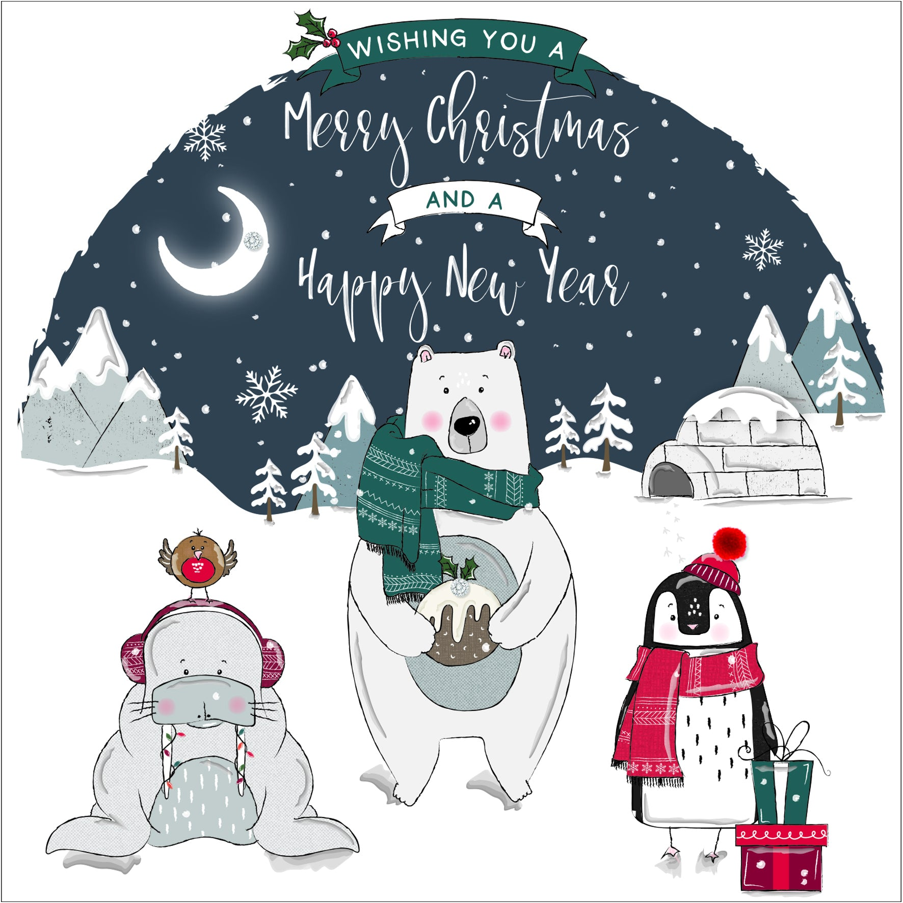 The Handcrafted Card Company Wishing you a Merry Christmas Card