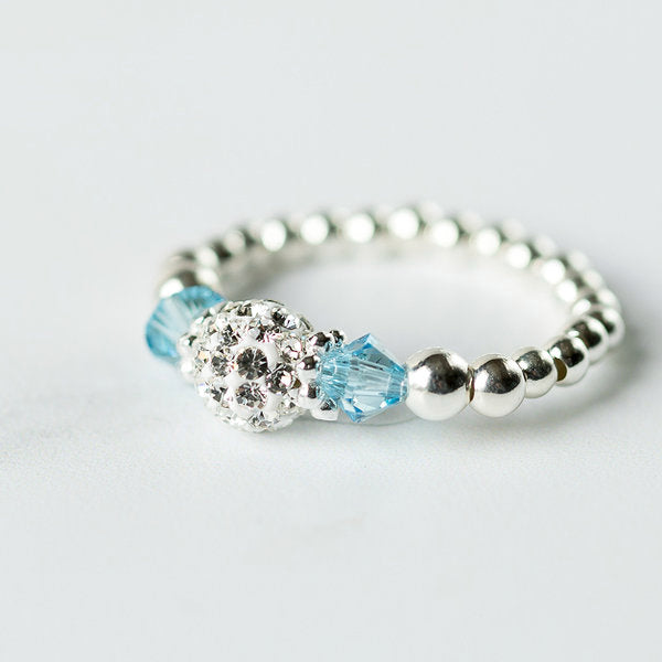 Aquamarine (March Birthstone) Silver Stretch Ring