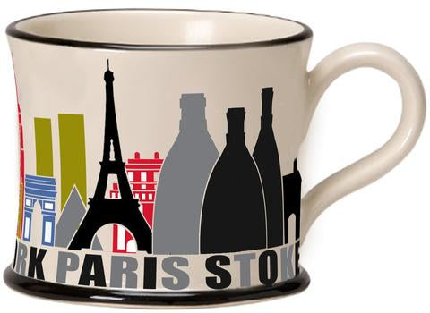 London, New York, Paris Stoke Mug by Moorland Pottery