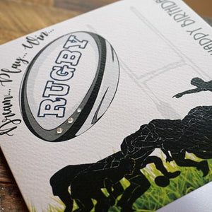 White Cotton Cards Rugby Birthday Card