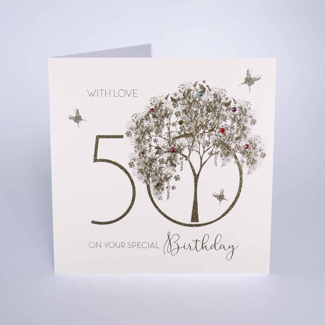 Five Dollar Shake With Love 50th Birthday Card - Gold Tree