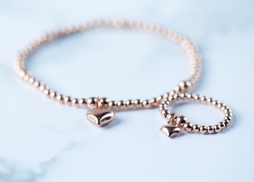 Jolu Jewellery Rose Gold Puff Heart Chloe Bracelet