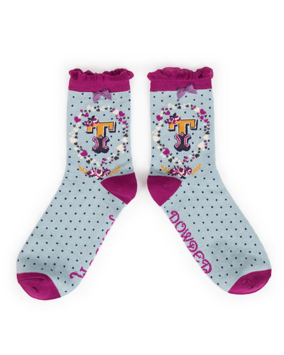 Powder Alphabet Socks - Letter T