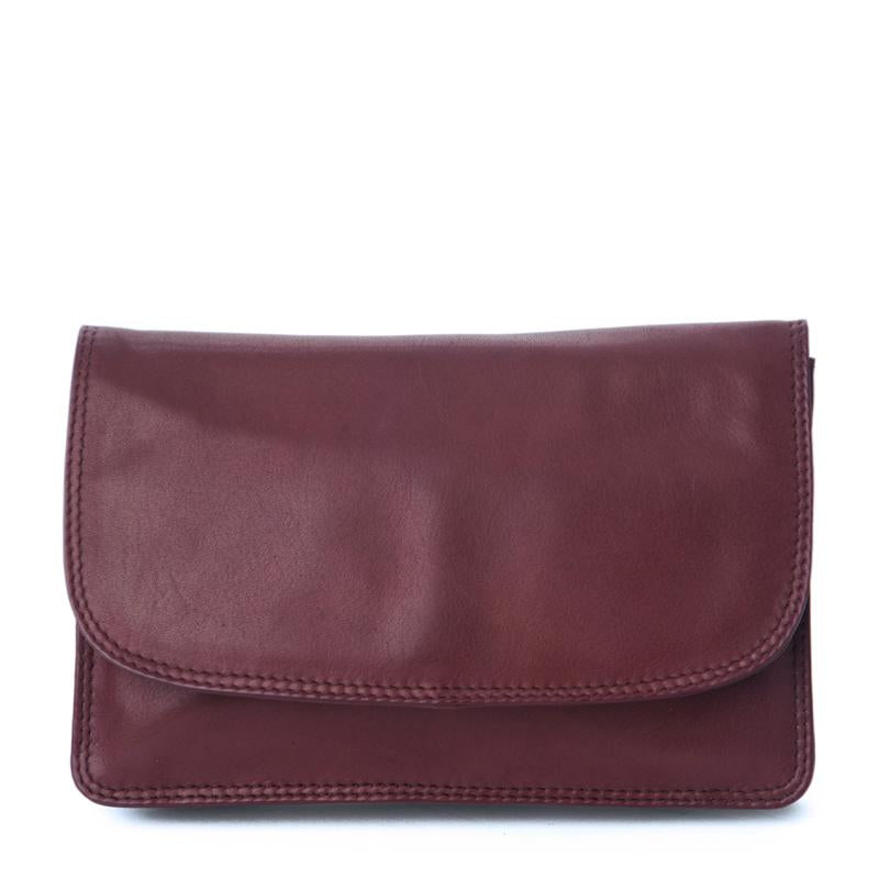 Nova Leathers Classic Flap Over Clutch/Crossbody Handbag - Burgundy