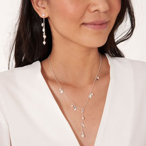 Joma Jewellery Happy Ever After Bridal Jewellery - Pearl & Crystal Leaf Backdrop Necklace