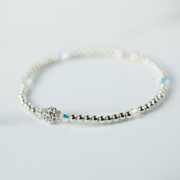Crystal AB (April Birthstone) Silver Bracelet