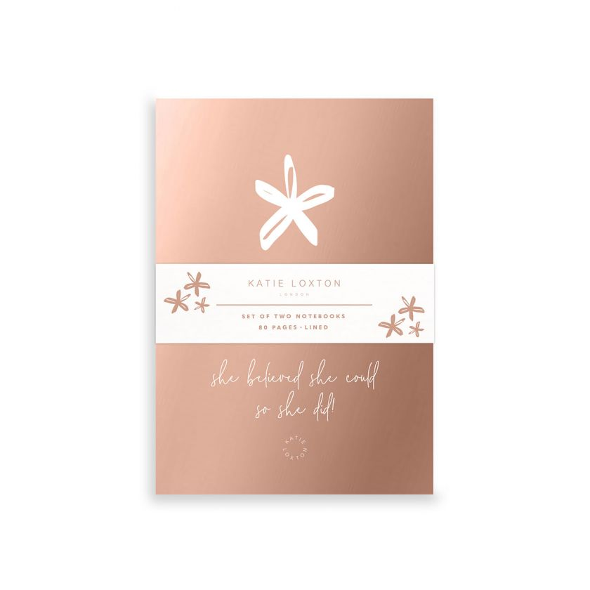 Katie Loxton Duo Pack of Mini Notebooks - Rose Gold Flower