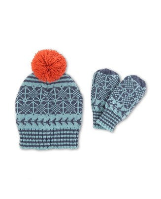 Powder Fair Isle Children's Hat & Mitten Set - Navy