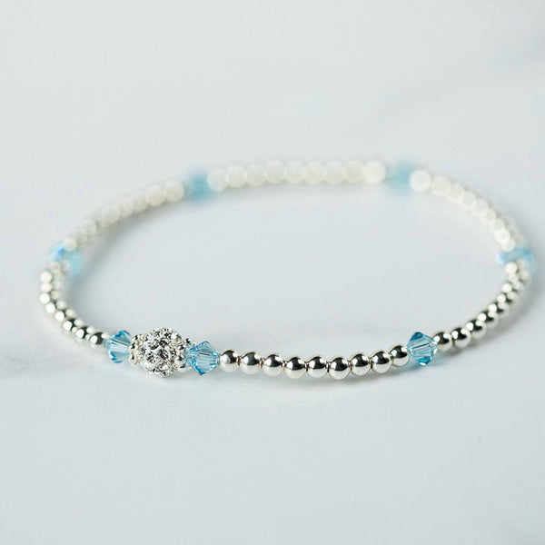 Aquamarine (March Birthstone) Silver Bracelet