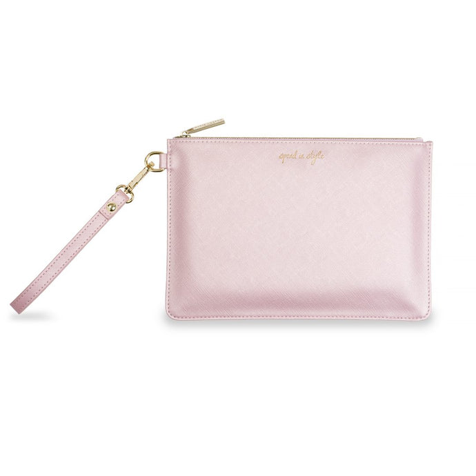 Katie Loxton Secret Message Pouch - Spend in Style - Metallic Pink